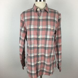J Crew Flannel Pink & Gray Plaid Button Down Small